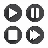 Player navigation icons. Play, stop and pause signs. Next song symbol. Circles buttons with long flat shadow. Vector poster