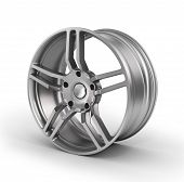 Car wheel Car alloy rim on white background. Auto parts. poster
