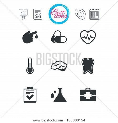 Presentation, report and calendar signs. Medicine, healthcare and diagnosis icons. Tooth, pills and doctor case signs. Neurology, blood test symbols. Classic simple flat web icons. Vector