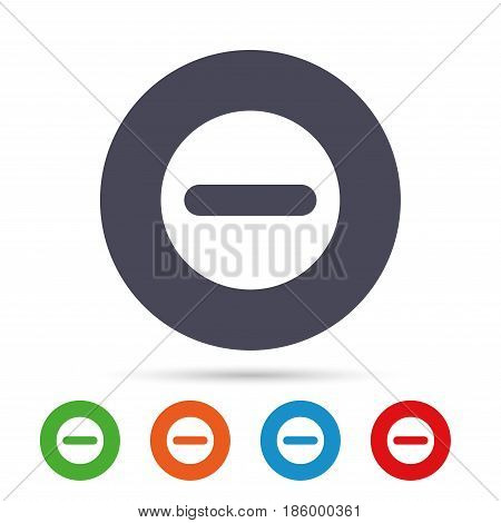 Minus sign icon. Negative symbol. Zoom out. Round colourful buttons with flat icons. Vector