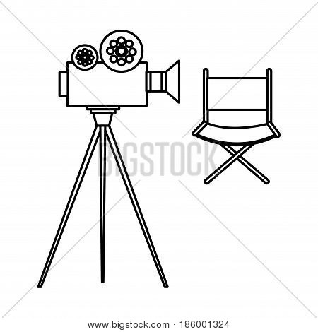 video camera cinema with director chair vector illustration design