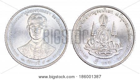 Thailand 5 Baht Coin, (1996) Isolated On White Background.