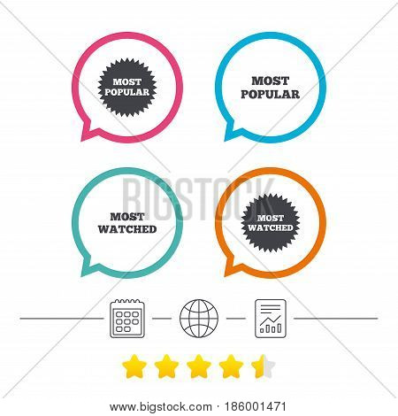 Most popular star icon. Most watched symbols. Clients or users choice signs. Calendar, internet globe and report linear icons. Star vote ranking. Vector