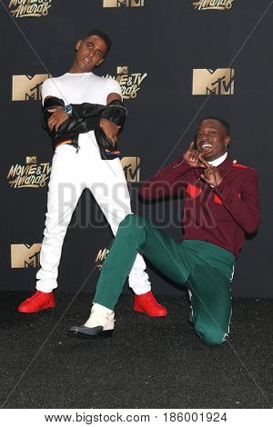 LOS ANGELES - MAY 7:  Ashton Sanders, Jharrel Jerome at the MTV Movie and Television Awards on the Shrine Auditorium on May 7, 2017 in Los Angeles, CA