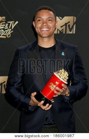 LOS ANGELES - MAY 7:  Trevor Noah at the MTV Movie and Television Awards on the Shrine Auditorium on May 7, 2017 in Los Angeles, CA
