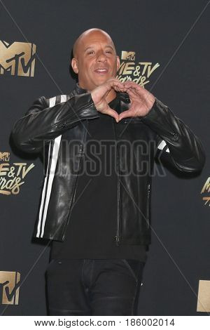 LOS ANGELES - MAY 7:  Vin DIesel at the MTV Movie and Television Awards on the Shrine Auditorium on May 7, 2017 in Los Angeles, CA