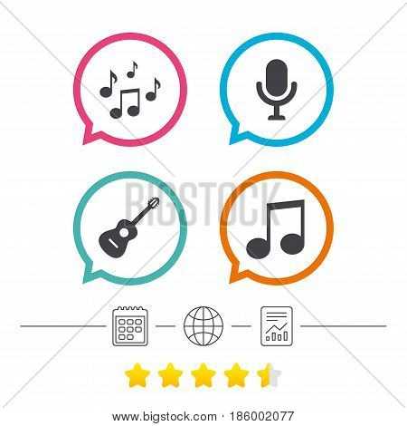 Music icons. Microphone karaoke symbol. Music notes and acoustic guitar signs. Calendar, internet globe and report linear icons. Star vote ranking. Vector