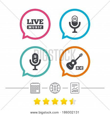 Musical elements icons. Microphone and Live music symbols. Paid music and acoustic guitar signs. Calendar, internet globe and report linear icons. Star vote ranking. Vector