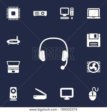 Set Of 13 Laptop Icons Set.Collection Of Photocopy, Router, Fan And Other Elements.