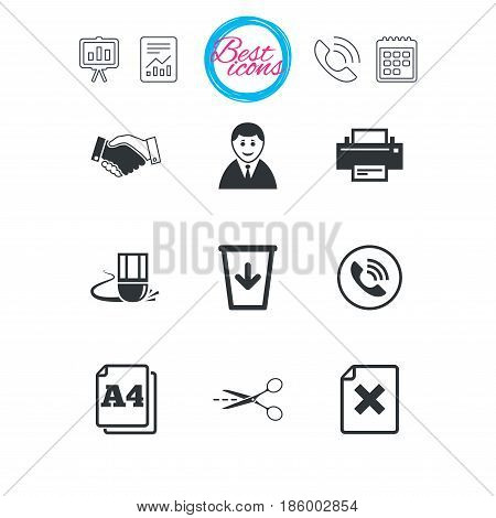 Presentation, report and calendar signs. Office, documents and business icons. Printer, handshake and phone signs. Boss, recycle bin and eraser symbols. Classic simple flat web icons. Vector