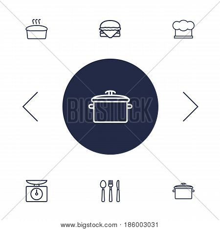 Set Of 6 Cooking Outline Icons Set.Collection Of Hat, Hamburger, Scales And Other Elements.