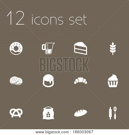 Set Of 12 Cook Icons Set.Collection Of Loaf, Sack, Shortcake And Other Elements.