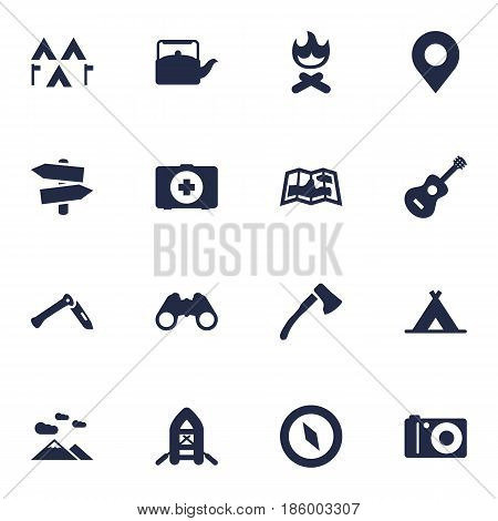 Set Of 16 Camping Icons Set.Collection Of Acoustic, Campfire, Jackknife And Other Elements.