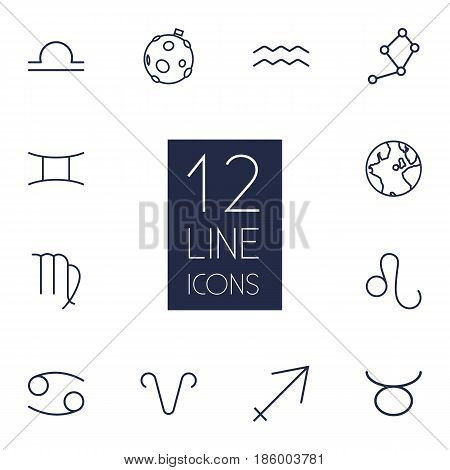 Set Of 12 Astrology Outline Icons Set.Collection Of Aries, Moon, Cancer And Other Elements.