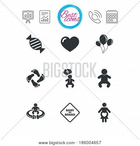 Presentation, report and calendar signs. Pregnancy, maternity and baby care icons. Candy, strollers and fasten seat belt signs. Footprint, love and balloon symbols. Classic simple flat web icons