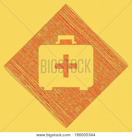 Medical First aid box sign. Vector. Red scribble icon obtained as a result of subtraction rhomb and path. Royal yellow background.
