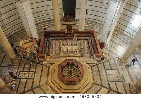 The marble interior of Pisa Baptistery (Battistero) - Pisa, Tuscany, Italy, 9 October 2011