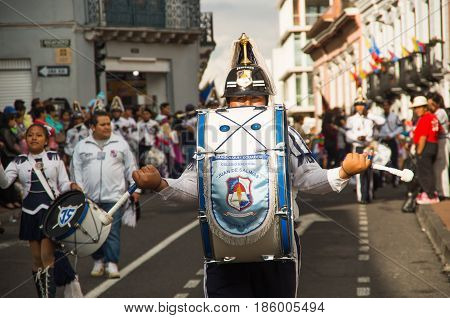 Quito, Ecuador - December 09, 2016: An unidentified marching band people are in parade in Quito, Ecuador.