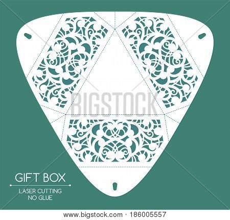 Openwork gift box with a lace ornament. Laser cutting