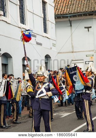 Quito, Ecuador - December 09, 2016: An unidentified people are marching in parade in Quito, Ecuador.