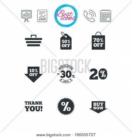 Presentation, report and calendar signs. Sale discounts icon. Shopping cart, coupon and buy now signs. 20, 30 and 50 percent off. Special offer symbols. Classic simple flat web icons. Vector