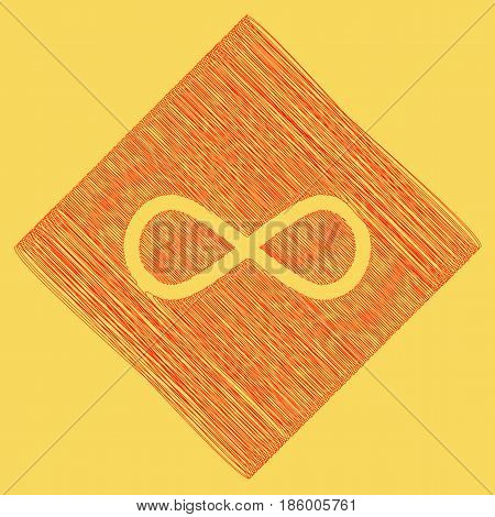 Limitless symbol illustration. Vector. Red scribble icon obtained as a result of subtraction rhomb and path. Royal yellow background.