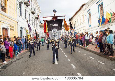 Quito, Ecuador - December 09, 2016: An unidentified Indigenous people are dancing in parade in Quito, Ecuador.