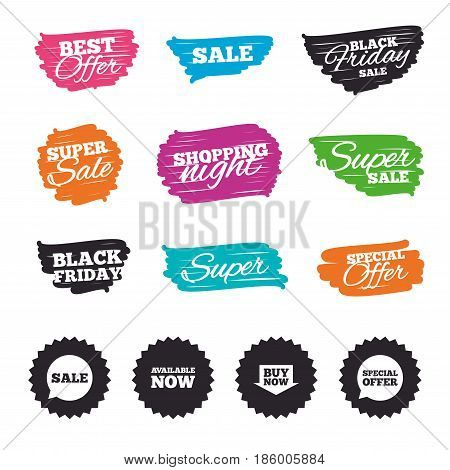 Ink brush sale banners and stripes. Sale icons. Special offer speech bubbles symbols. Buy now arrow shopping signs. Available now. Special offer. Ink stroke. Vector