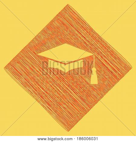 Mortar Board or Graduation Cap, Education symbol. Vector. Red scribble icon obtained as a result of subtraction rhomb and path. Royal yellow background.