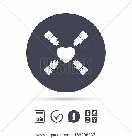 Hands reach for heart sign icon. Save life symbol. Report document, information and check tick icons. Currency exchange. Vector