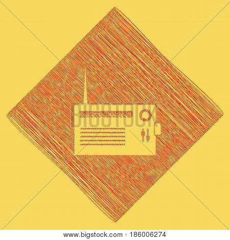 Radio sign illustration. Vector. Red scribble icon obtained as a result of subtraction rhomb and path. Royal yellow background.