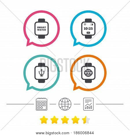 Smart watch icons. Wrist digital time watch symbols. USB data, Globe internet and wi-fi signs. Calendar, internet globe and report linear icons. Star vote ranking. Vector