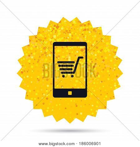 Gold glitter web button. Smartphone with shopping cart sign icon. Online buying symbol. Rich glamour star design. Vector
