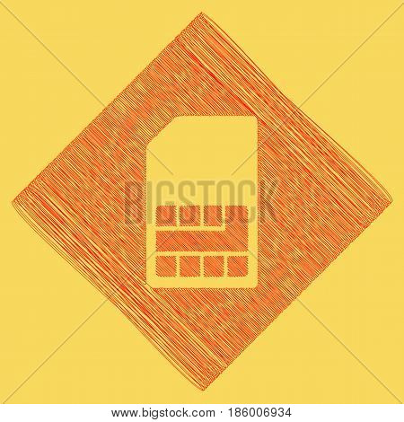 Sim card sign. Vector. Red scribble icon obtained as a result of subtraction rhomb and path. Royal yellow background.