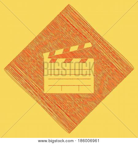 Film clap board cinema sign. Vector. Red scribble icon obtained as a result of subtraction rhomb and path. Royal yellow background.