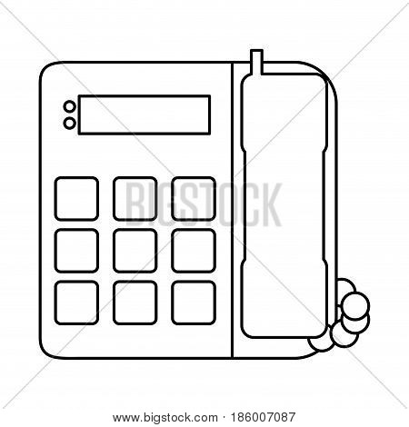 landline phone icon image vector illustration design  single black line