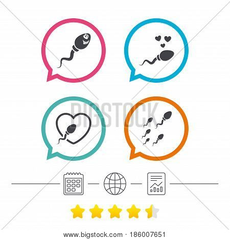 Sperm icons. Fertilization or insemination signs. Safe love heart symbol. Calendar, internet globe and report linear icons. Star vote ranking. Vector