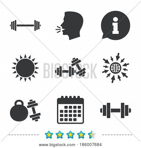 Dumbbells sign icons. Fitness sport symbols. Gym workout equipment. Information, go to web and calendar icons. Sun and loud speak symbol. Vector
