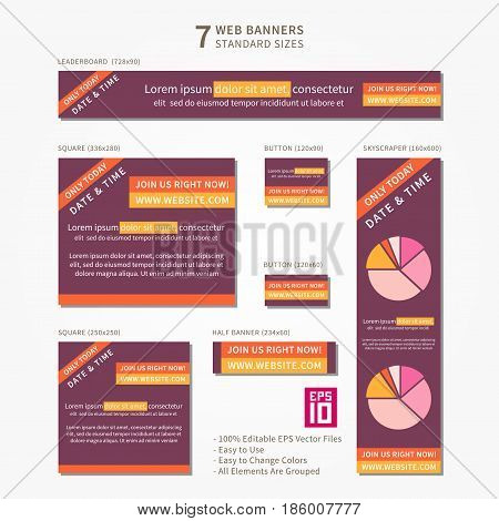 Vector business standard size Web Banners Set with sample text. Modern design concept for corporate website advertising.
