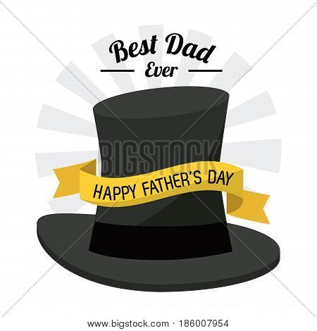 fathers day card, best dad ever. black hat ribbon decoration vector illustration