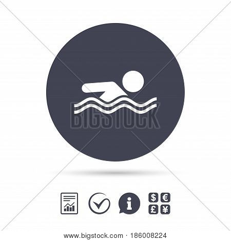 Swimming sign icon. Pool swim symbol. Sea wave. Report document, information and check tick icons. Currency exchange. Vector