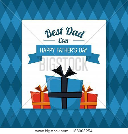fathers day card, best dad ever with geometric background vector illustration