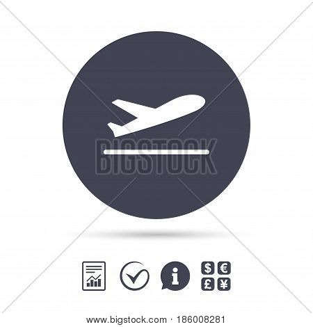 Plane takeoff icon. Airplane transport symbol. Report document, information and check tick icons. Currency exchange. Vector