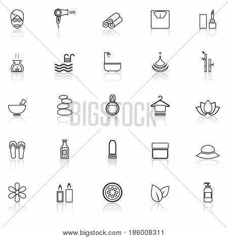 Beauty line icons with reflect on white background, stock vector