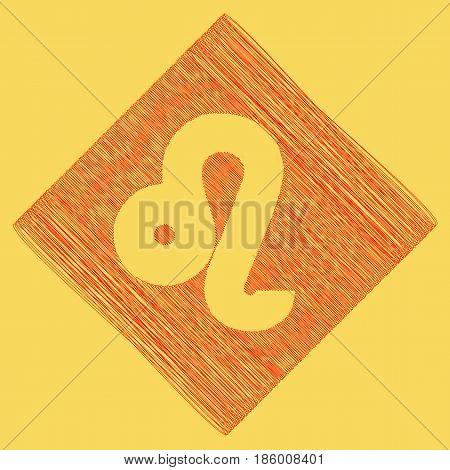 Leo sign illustration. Vector. Red scribble icon obtained as a result of subtraction rhomb and path. Royal yellow background.