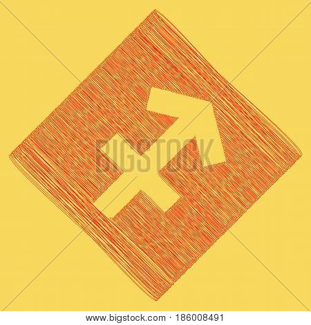 Sagittarius sign illustration. Vector. Red scribble icon obtained as a result of subtraction rhomb and path. Royal yellow background.