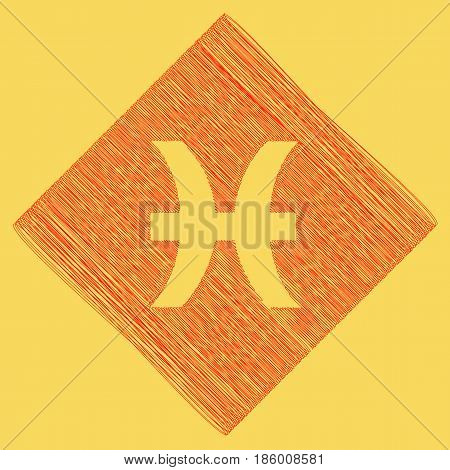 Pisces sign illustration. Vector. Red scribble icon obtained as a result of subtraction rhomb and path. Royal yellow background.
