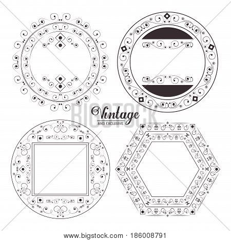 vintage exclusive ornaments floral festive swash label design elements vector illustration