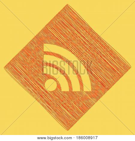 RSS sign illustration. Vector. Red scribble icon obtained as a result of subtraction rhomb and path. Royal yellow background.