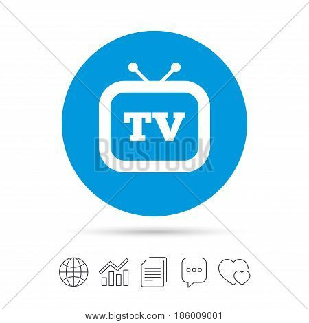 Retro TV sign icon. Television set symbol. Copy files, chat speech bubble and chart web icons. Vector